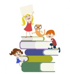 kids on the books vector image vector image