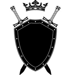 shield swords and crown vector image