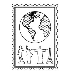 silhouette frame with world map and set of the vector image vector image