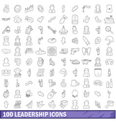 100 leadership icons set outline style vector image