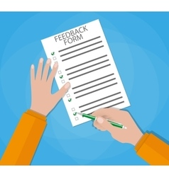 Hand holding customer survey paper vector image