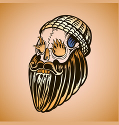 hipster skull with beard and burning eyes vector image