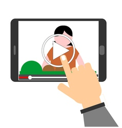 Human hand pointing to play button on a tablet com vector image