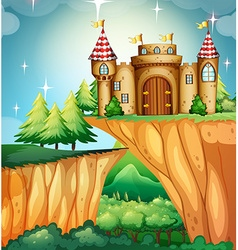 Scene with castle on the cliff vector image