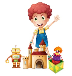A boy waving his hand with toys vector image vector image