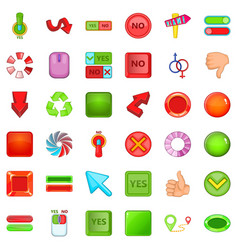 computer click icons set cartoon style vector image vector image