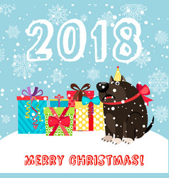 dog and presents 2018 christmas carda vector image