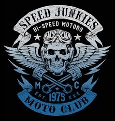 Speed Junkies Motorcycle Vintage Design vector image vector image