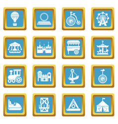amusement park icons set sapphirine square vector image
