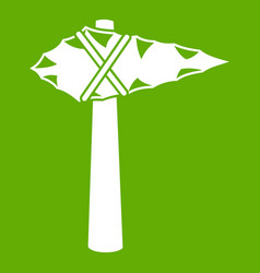 Ancient hammer icon green vector