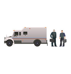 armored money carrier vehicle bank van vector image