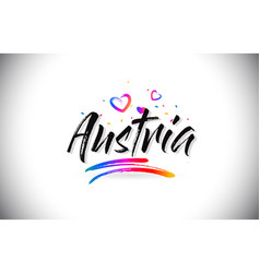 austria welcome to word text with love hearts and vector image