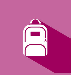 Backpack icon with shadow on pink background vector