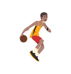 Basketball player athlete in uniform with ball vector