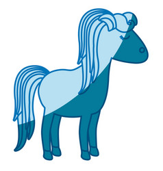 Blue silhouette of cartoon female horse with vector