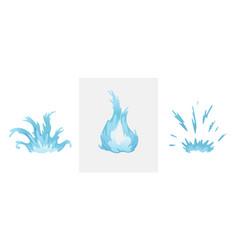 blue waves and water splashes set wavy symbols vector image