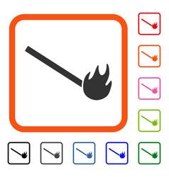 Burned match framed icon vector