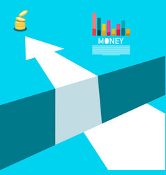 business concept with money coins graph and big vector image