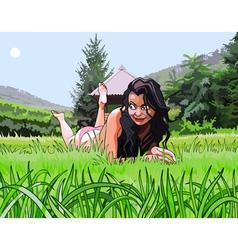 Cartoon beautiful girl resting on the grass vector