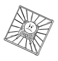 cartoon conceptual man or prisoner trapped in vector image