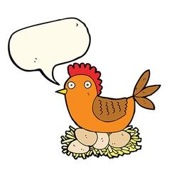 cartoon hen on eggs with speech bubble vector image