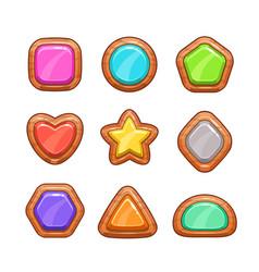 cartoon wooden buttons set vector image