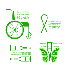 Cerebral palsy awareness month in march grey and vector