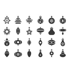 christmas ball ornaments icon set 1 solid design vector image