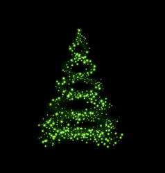 christmas tree card background green christmas vector image