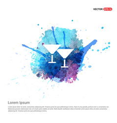 Cocktail glasses icon - watercolor background vector