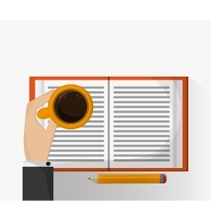 Coffee mug pencil and book design vector image