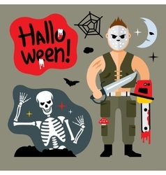 Comic Crazy maniac Halloween Scene Cartoon vector