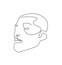 Continuous line abstract male face contemporary vector
