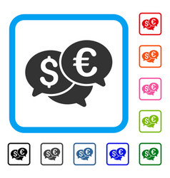 Currency bids framed icon vector