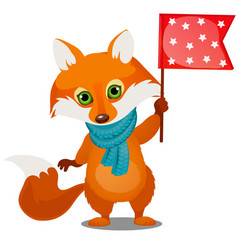 Cute animated fox in winter knitted scarf holding vector