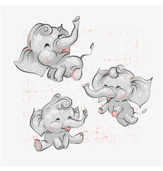 Cute baby elephants set hand drawn vector