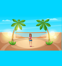 Cute beautiful girl play volleyball vector