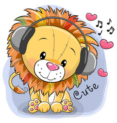 Cute cartoon lion with headphones and hearts vector