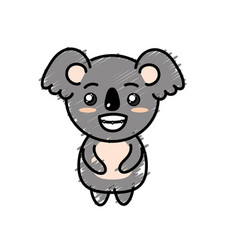 Cute koala wild animal with face expression vector