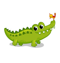 Cute young green crocodile on a white background vector