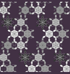 Dark contrast pattern with abstract lace flowers vector