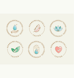 dermatologically tested icons labels logo vector image