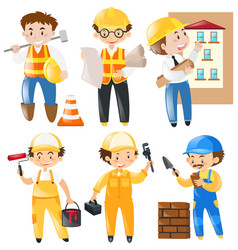 different occupation working on construction site vector image