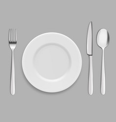Dishes and cutlery fork spoon and knife vector