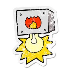 Distressed sticker of a cartoon flashing fire vector