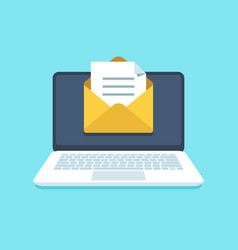 document email on notebook mail letter with vector image