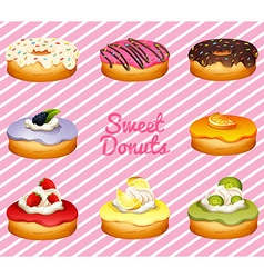 Donuts in different flavor vector image