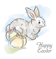 easter card with rabbit and two eggs vector image