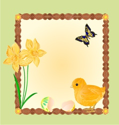 Easter chick with butterflies and daffodils frame vector image