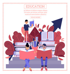 education process with young students sitting and vector image